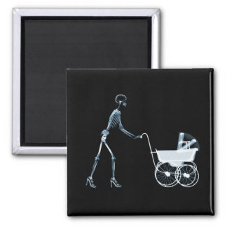 X-RAY SKELETON WOMAN & BABY CARRIAGE - BLUE MAGNET