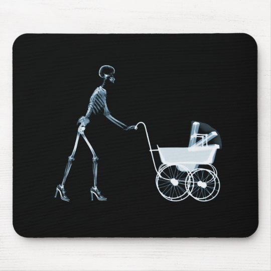 X-RAY SKELETON WOMAN & BABY CARRIAGE - BLUE MOUSE PAD