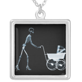 X-RAY SKELETON WOMAN BABY CARRIAGE - BLUE NECKLACES
