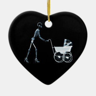 X-RAY SKELETON WOMAN & BABY CARRIAGE - BLUE CHRISTMAS ORNAMENTS
