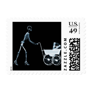 X-RAY SKELETON WOMAN & BABY CARRIAGE - BLUE POSTAGE STAMPS