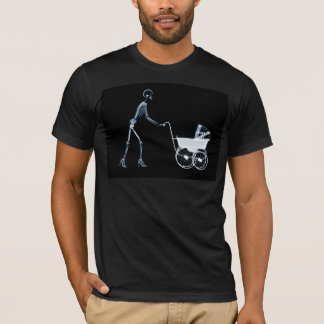 X-RAY SKELETON WOMAN & BABY CARRIAGE - BLUE T-Shirt
