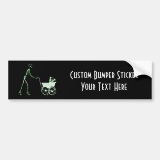 X-RAY SKELETON WOMAN & BABY CARRIAGE - GREEN BUMPER STICKER