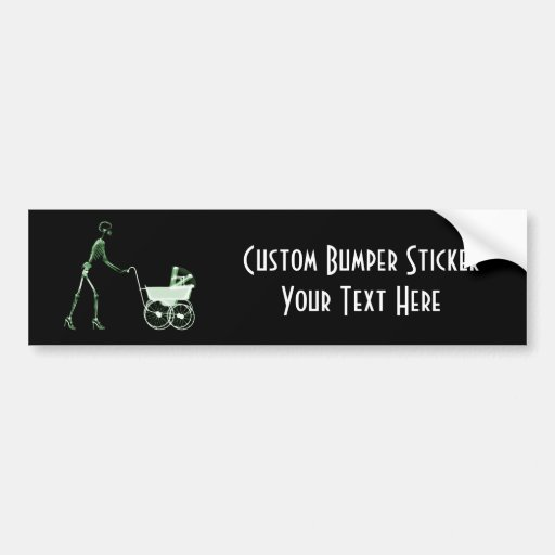 X-RAY SKELETON WOMAN & BABY CARRIAGE - GREEN CAR BUMPER STICKER
