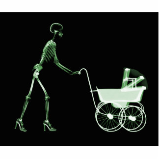 X-RAY SKELETON WOMAN & BABY CARRIAGE - GREEN CUTOUT