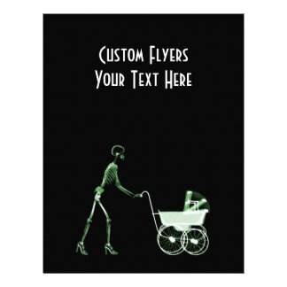X-RAY SKELETON WOMAN & BABY CARRIAGE - GREEN FLYER DESIGN