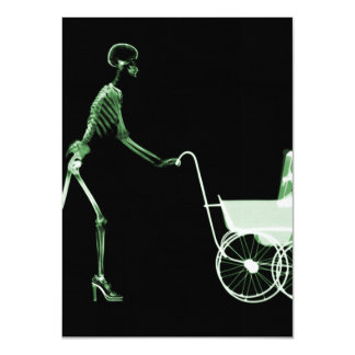 X-RAY SKELETON WOMAN & BABY CARRIAGE - GREEN INVITE