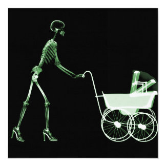 X-RAY SKELETON WOMAN & BABY CARRIAGE - GREEN CUSTOM ANNOUNCEMENT