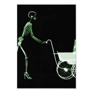 X-RAY SKELETON WOMAN & BABY CARRIAGE - GREEN INVITATION
