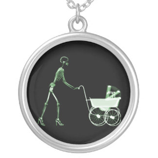 X-RAY SKELETON WOMAN BABY CARRIAGE - GREEN JEWELRY