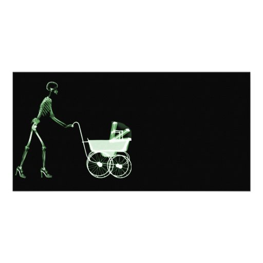 X-RAY SKELETON WOMAN & BABY CARRIAGE - GREEN PICTURE CARD