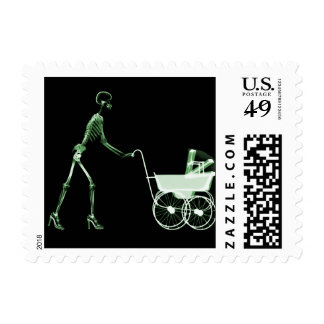 X-RAY SKELETON WOMAN & BABY CARRIAGE - GREEN POSTAGE