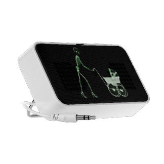 X-RAY SKELETON WOMAN BABY CARRIAGE - GREEN SPEAKER SYSTEM