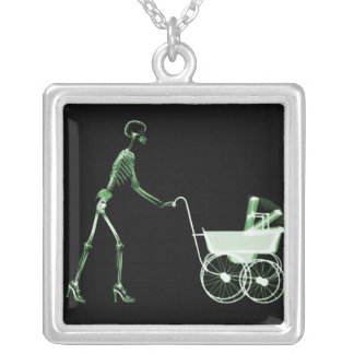 X-RAY SKELETON WOMAN & BABY CARRIAGE - GREEN SQUARE PENDANT NECKLACE