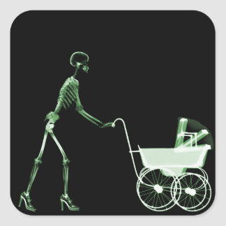 X-RAY SKELETON WOMAN & BABY CARRIAGE - GREEN SQUARE STICKER