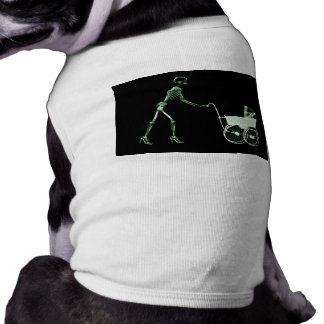 X-RAY SKELETON WOMAN & BABY CARRIAGE - GREEN TEE