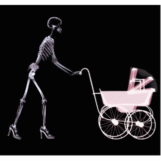 X-RAY SKELETON WOMAN & BABY CARRIAGE - PINK CUTOUT