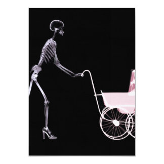 X-RAY SKELETON WOMAN & BABY CARRIAGE - PINK PERSONALIZED INVITATION