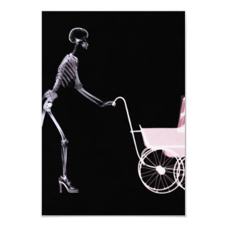 X-RAY SKELETON WOMAN & BABY CARRIAGE - PINK INVITATIONS