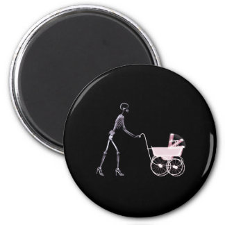 X-RAY SKELETON WOMAN & BABY CARRIAGE - PINK MAGNET