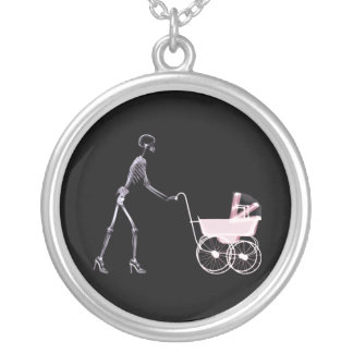 X-RAY SKELETON WOMAN BABY CARRIAGE - PINK JEWELRY