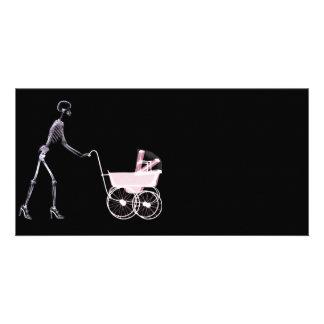X-RAY SKELETON WOMAN & BABY CARRIAGE - PINK CUSTOM PHOTO CARD