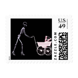 X-RAY SKELETON WOMAN & BABY CARRIAGE - PINK STAMPS