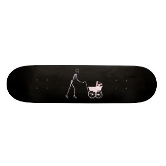 X-RAY SKELETON WOMAN & BABY CARRIAGE - PINK SKATEBOARD DECK