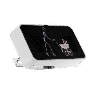 X-RAY SKELETON WOMAN BABY CARRIAGE - PINK SPEAKERS