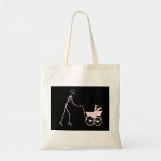 X-RAY SKELETON WOMAN & BABY CARRIAGE - PINK TOTE BAG