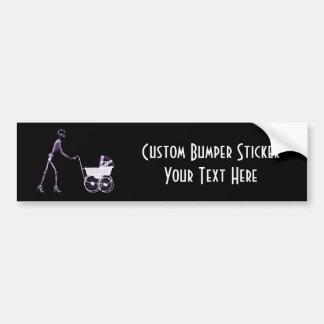X-RAY SKELETON WOMAN & BABY CARRIAGE - PURPLE BUMPER STICKER
