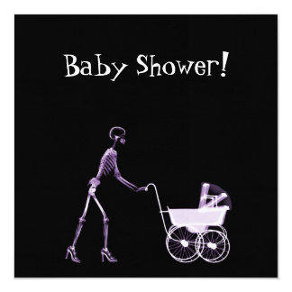 X-RAY SKELETON WOMAN & BABY CARRIAGE - PURPLE CARD
