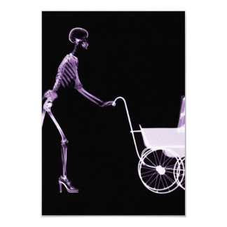 X-RAY SKELETON WOMAN & BABY CARRIAGE - PURPLE PERSONALIZED INVITES