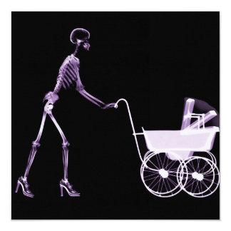 X-RAY SKELETON WOMAN & BABY CARRIAGE - PURPLE INVITATION