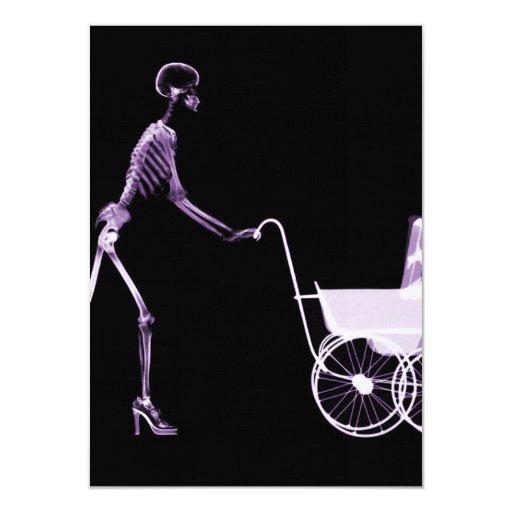 "X-RAY SKELETON WOMAN & BABY CARRIAGE - PURPLE 4.5"" X 6.25"" INVITATION CARD"