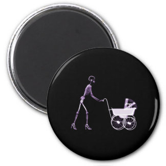 X-RAY SKELETON WOMAN & BABY CARRIAGE - PURPLE MAGNET