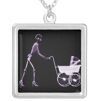X-RAY SKELETON WOMAN BABY CARRIAGE - PURPLE CUSTOM NECKLACE