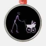 X-RAY SKELETON WOMAN & BABY CARRIAGE - PURPLE ORNAMENT