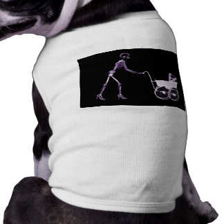 X-RAY SKELETON WOMAN & BABY CARRIAGE - PURPLE PET T SHIRT
