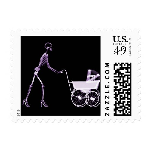 X-RAY SKELETON WOMAN & BABY CARRIAGE - PURPLE POSTAGE STAMP