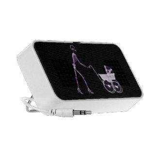 X-RAY SKELETON WOMAN BABY CARRIAGE - PURPLE iPod SPEAKER