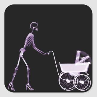 X-RAY SKELETON WOMAN & BABY CARRIAGE - PURPLE SQUARE STICKER