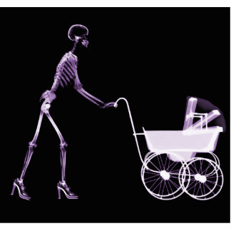 X-RAY SKELETON WOMAN & BABY CARRIAGE - PURPLE STATUETTE