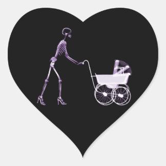 X-RAY SKELETON WOMAN & BABY CARRIAGE - PURPLE HEART STICKER