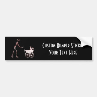 X-RAY SKELETON WOMAN & BABY CARRIAGE - RED BUMPER STICKER