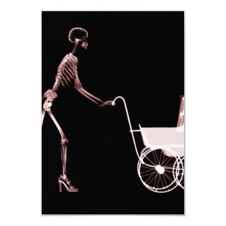 X-RAY SKELETON WOMAN & BABY CARRIAGE - RED PERSONALIZED INVITATION