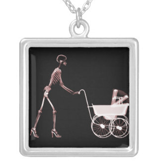 X-RAY SKELETON WOMAN BABY CARRIAGE - RED PENDANTS