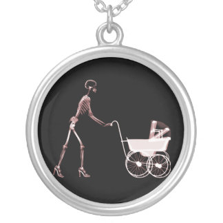 X-RAY SKELETON WOMAN BABY CARRIAGE - RED CUSTOM JEWELRY