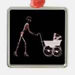X-RAY SKELETON WOMAN & BABY CARRIAGE - RED CHRISTMAS ORNAMENTS