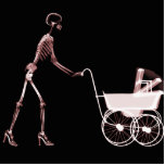 X-RAY SKELETON WOMAN & BABY CARRIAGE - RED PHOTO SCULPTURES